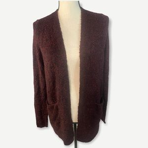 Bp Boucle Open Front Cardigan Burgundy Small New